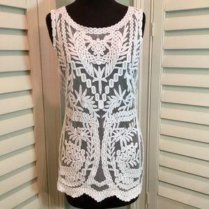 LAUNDRY BY SHELLI SEGAL lace mesh tank